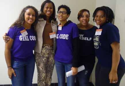 "Emily Wilson, Jean Drummond, Jacquelyn Chin, Kanika Tolver and Rashema Melson encourage girls to have a positive self-image. Chin and Marianne Orunja, (not pictured) helped to plan this year's ""Girl Code"" symposium."