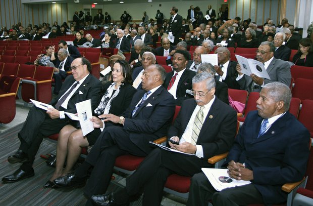 "Among those attending the funeral were, from left front, Dr. Claude G. Perkins, the current president of Virginia Union University, and his wife, Cheryl Perkins; Richmond Mayor Dwight C. Jones, a VUU alumnus; Congressman Robert C. ""Bobby"" Scott; and former state Sen. Henry L. Marsh III, also a VUU alumnus."