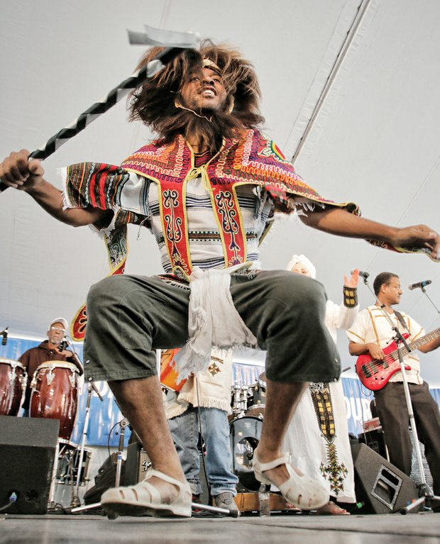 Performer with Feedel Band showcases Ethiopian jazz.