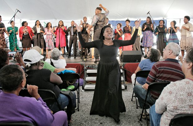 A praise dancer performs with Zion's Voice Community Youth Choir.