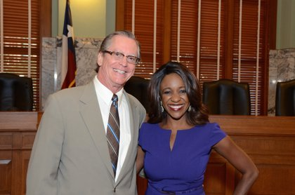 Jacquie Baly with Justice Jim Sharp