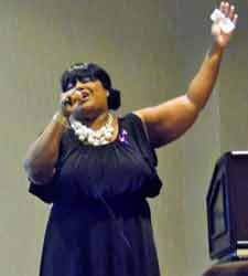 Carrone Jones sings a moving song during the event.