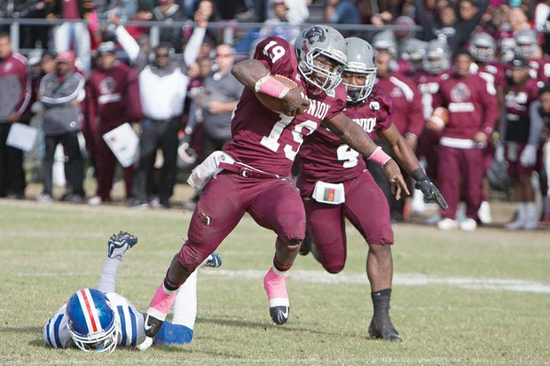 Virginia Union University's Jerome Robinson breaks away from an Elizabeth City State University defender in the Panthers' 43-31 home win last Saturday at Hovey Field.