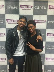 """Mack Wilds and ESSENCE.com Beauty Editor Deena Campbell during """"talk back"""" session at Hampton University stop (Photo credit: Calune Eustache)"""