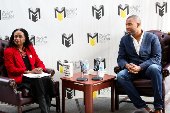 "Ta-Nehisi Coates speaks about his book ""Between the World and Me"" at Medgar Evers."
