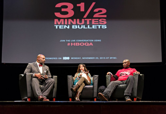 On Wednesday night, HBO hosted an invite-only screening of the documentary<em> 3 1/2 Minutes, Ten Bullets</em> at the Schomburg Center ...