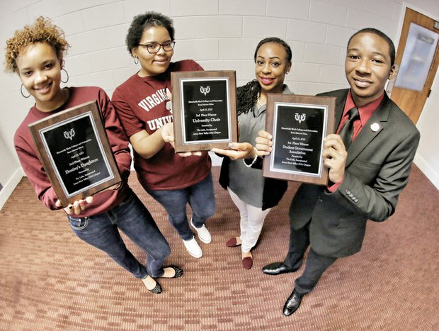 "Be a lifesaver // Representatives of three Virginia Union University organizations display plaques awarded to their groups Nov. 21 for having the highest number of registrants for the ""Be The Match Registry."" That's a national bone marrow databank designed to connect possible donors to people in need of a marrow transplant to fight diseases such as sickle cell anemia, leukemia and blood cancers. From left, the students are Paige McGilvery and Jahnae McCoy of Destiny's Daughters (second place), Miss Virginia Union Khadijah Harvin of The University Choir (third place) and Deondrai McKithen of the VUU Student Government Association (first place). The drive was organized by the James River Valley Chapter of The Links Inc. The Links chapter will host its second annual community bone marrow drive from 10 a.m. to 2 p.m. Saturday, Dec. 5, at Chesterfield Towne Center, 11500 Midlothian Turnpike. The public is invited to participate."