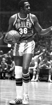 "The Harlem Globetrotters' ""Clown Prince of Basketball"" at New York's Madison Square Garden in 1978."