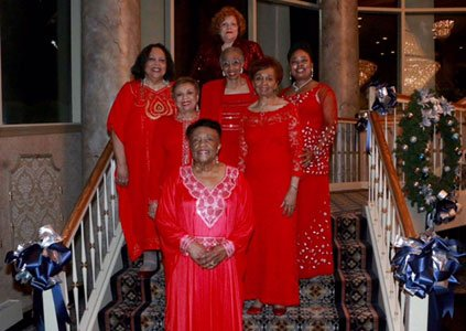 Past presidents of the Baltimore Chapter of Continental Societies, Inc.  (Front to back) Frenzela Credle; G. Madeline Campbell; Marguerite S. Walker; Elnora B. Fullwood; Gwendolyn A. Lindsay; Joi W.Dabney; and immediate past president Dr. Joanne Christopher Hicks.