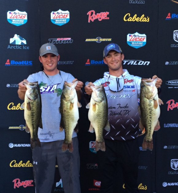 Blake Schroeder and Easton Heigley, college anglers from Stephen F. Austin University, brought 27.06 pounds of bass to the scales ...