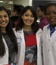 L-R: Roopa Patel and Jovanna Madray, TouroCOM students and co-directors of MedAchieve, with Nadege Dady, Ed.D., dean of Student Affairs
