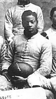 Charles Follis, the Wooster High School football team in 1899.  Follis went on to become the first Black professional football player.