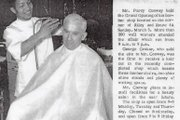 A young Conway cuts his first customers hair at his grand opening 50 years ago.