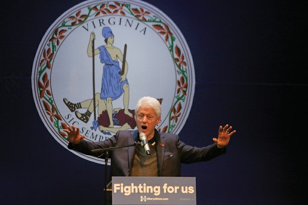 Former President Bill Clinton fires up the audience Wednesday night at the Hippodrome Theater in Richmond's Jackson Ward during a campaign appearance for his wife, Democratic presidential candidate Hillary Clinton.