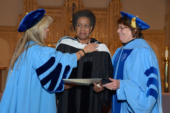 From the moment she walked into the Castle at the College of New Rochelle, Myrlie Evers-Williams was accompanied by a ...