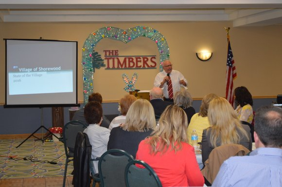 Shorewood Mayor Rick Chapman gave his annual state of the village address on Tuesday before an audience at the Timbers ...