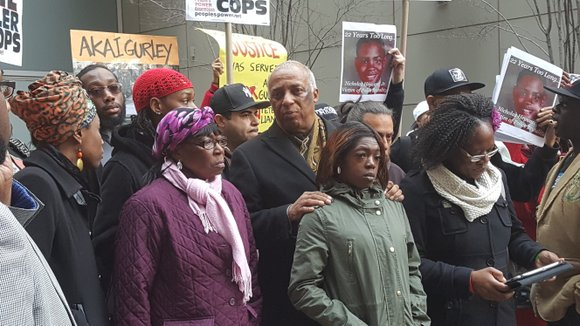 """If we don't get justice—"" Hertencia Petersen, Akai Gurley's aunt called outside Brooklyn DA Ken Thompson's office."