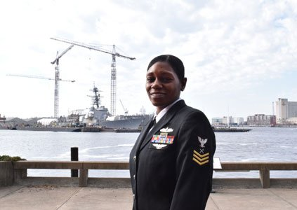 Petty Officer 1st Class Jamye Graham from Baltimore, serving with USS Wasp (LHD 1), earned Senior Sailor of the Year ...