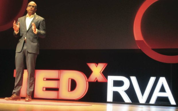Virginia State University President Makola Abdullah encourages audience members to tap into the entire brain sphere during his talk last Friday at TEDxRVA 2016 at the Carpenter Theatre.