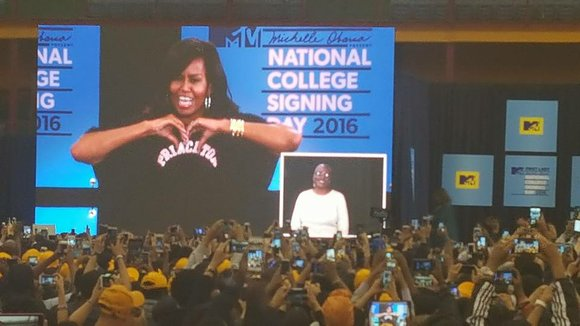 As part of her Reach Higher initiative, First Lady Michelle Obama celebrates her signature College Signing Day at the Harlem ...