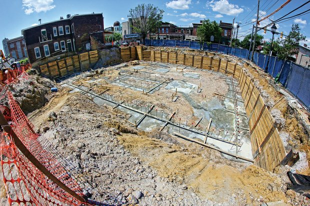 The foundation is being laid for the $6.3 million Eggleston Plaza at 2nd and Leigh streets in Jackson Ward, as captured Tuesday by a fisheye lens. When complete, the development is to include 31 apartments and a first-floor restaurant on the former site of the historic Eggleston Hotel. During the era of segregation, the hotel served renowned civil rights leaders, famous entertainers and other African-Americans who were barred from other Richmond hotels because of the color of their skin. The building collapsed and the site was cleared in 2009.  The Eggleston family teamed up with developer Kelvin Hanson on the new project, according to city documents. MGT Construction is doing the work. The project is across 2nd Street from the Hippodrome Theater and Taylor Mansion entertainment, restaurant and residential complex. The planned development also includes 10 housing units going up nearby at 1st and Jackson streets.