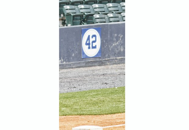 Each year the Flying Squirrels host Jackie Robinson Day at the Diamond. The baseball trailblazer's No. 42 has a permanent home in right field.