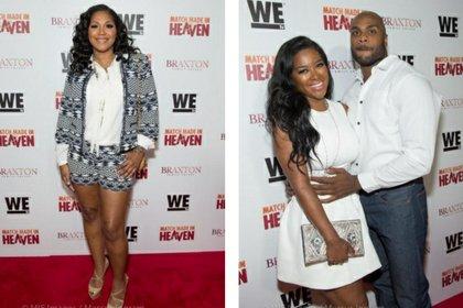 Trina Braxton (left); Kenya Moore and boyfriend Matt Jordan (right)