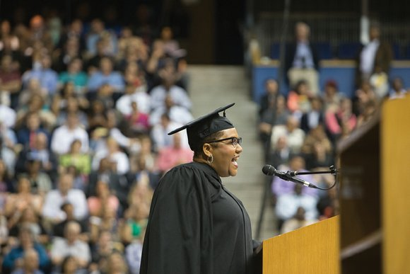 """""""Go make the world a better place for people everywhere,"""" was the recurring message to the more than 5,000 graduates ..."""