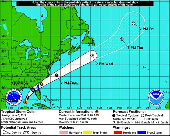 Just days after the official start of hurricane season, a tropical storm is churning toward the Florida coast.