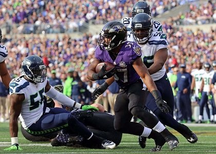 Baltimore Ravens running back Buck Allen saw plenty of play time after Justin Forsett suffered a broken arm against the ...