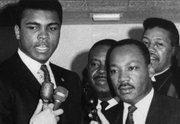 Mr. Ali and Dr. Martin Luther King Jr. speak out against the military draft in March 1967 in Louisville, Ky.