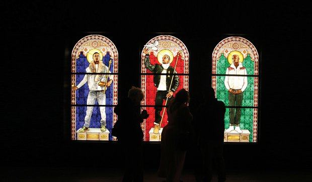"""These gorgeous stained glass windows are a highlight of the exhibit. The works are, from  """"Saint Adelaide,"""" """"Saint Remi"""" and """"Saint Amelie."""""""