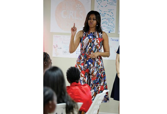 First Lady Michelle Obama visited a leadership camp for girls Monday in Liberia to launch her latest visit to Africa, ...
