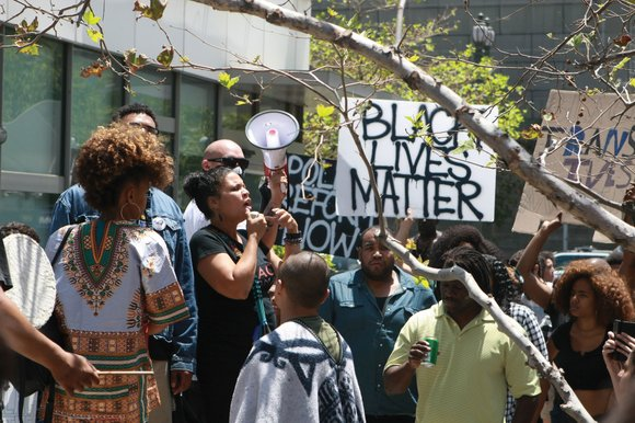 A protest was held outside Los Angeles Mayor Eric Garcetti's official residence today...