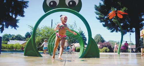 Splash pad hours are 11 am to 9 pm for the next two months.