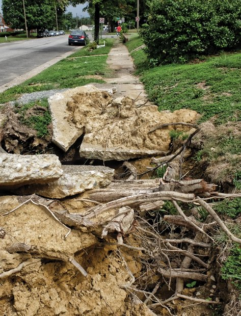 Cityscape // City contractors removed huge branches and most of the tree's trunk, but to Ms. Woods' dismay, left this mess. It's opportunity time for the city to show it can complete the job of removing the tree and replacing the heavily damaged sidewalk.