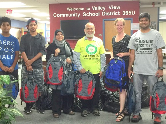 The association, based in Bolingbrook, donated 78 back backs filled with school supplies to District 365U.