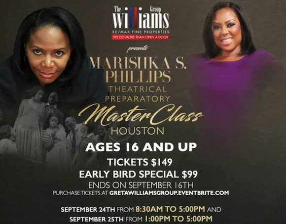 Marishka S. Phillips, Broadway actress, accomplished director, thespian guru and official New York casting director, is coming to Houston to ...