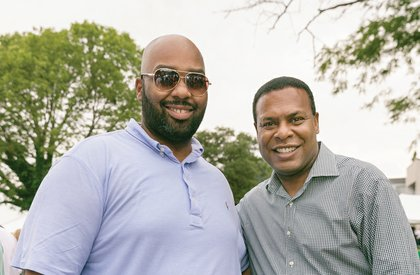Henrico Delegate Lamont Bagby, left, and Norfolk Mayor Kenneth C. Alexander pause for a photo.
