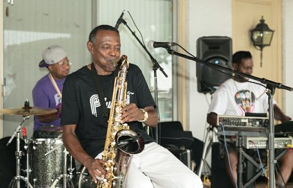 """Saxophonist James """"Plunky"""" Branch of Richmond and his group, Plunky & Oneness, provide the musical entertainment for the event."""