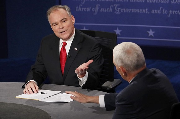 Democratic vice presidential candidate Tim Kaine aggressively challenged Republican candidate Mike Pence over a long list of Donald Trump's controversial ...