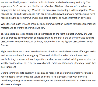 Full statement from Delta Air Lines.