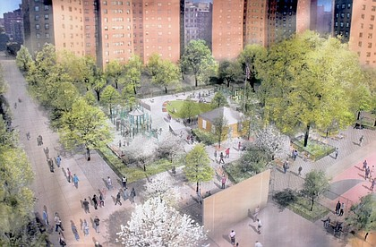 Rendering of Martin Luther King Park on Malcolm X Blvd. between W. 113th and W. 114th Sts. in Harlem