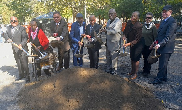 Picking up shovels, elected officials, activists, residents and those from Quennell Rothschild & Partners, the landscape architects for the project, ...