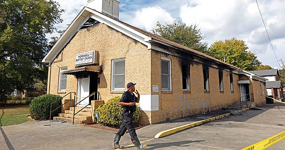 "Two days after a black Mississippi church was torched and marked with ""Vote Trump"" graffiti, more than $180,000 has been ..."