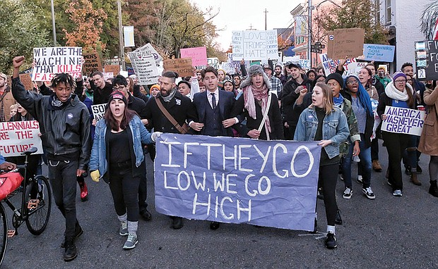 More than 2,000 anti-Trump protesters march from Virginia Commonwealth University to Carytown and back on Saturday. Protests also were held Wednesday at the University of Richmond.