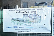 Banner with architects' rendering of Madison Park North redevelopment.