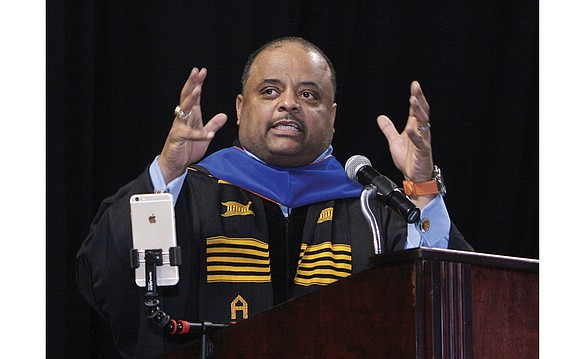 """Roland S. Martin, host and managing editor of TV One's """"News One Now,"""" delivered part-speech, part-sermon Saturday to the 400 ..."""