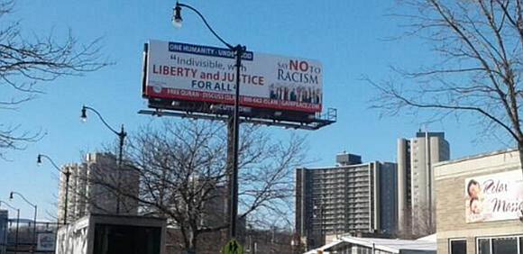 "Local Muslim group participates in billboard campaign to promote ""harmony and unity."""