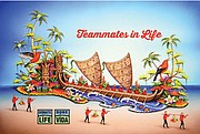 """The Donate Life America's float theme """"Teammates in Life,"""" stresses the importance of working together to save lives. The float depicts a spectacular Polynesian catamaran, which will be propelled by Zion along with a team of 23 organ, eye and tissue transplant recipients— rowing in unison with strength gained from their donors."""
